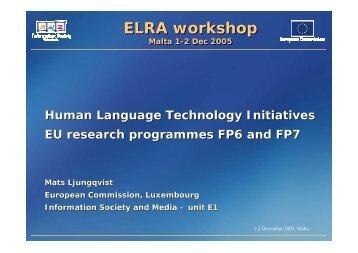 Human language technology initiatives - Machine Translation Archive