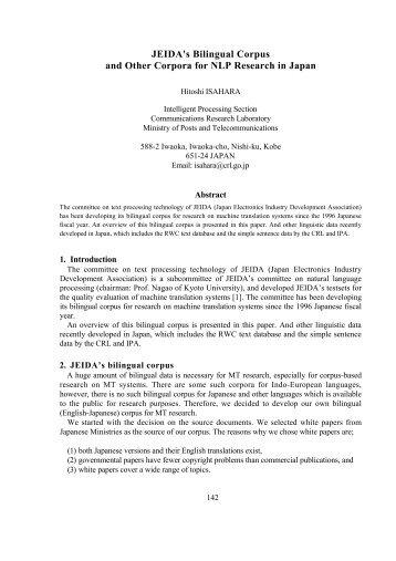 JEIDA's bilingual corpus and other corpora for NLP ... - CiteSeerX