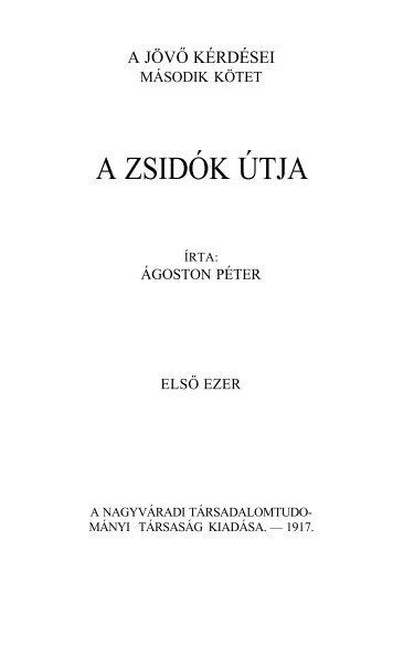 Ágoston Péter: A zsidók útja