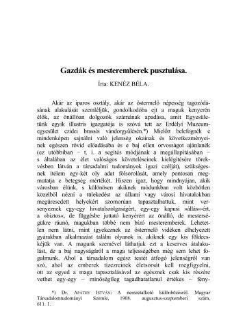 Gazdák és mesteremberek pusztulása. - MTDA A Magyar ...