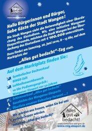 Hallo Bürgerinnen und Bürger, liebe Gäste der Stadt Wangen ...