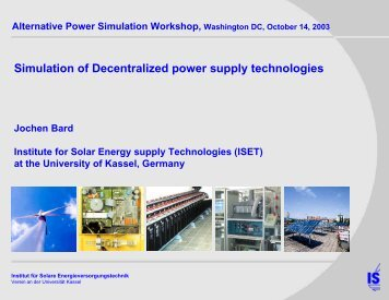 Presentation - Simulation of Decentralized power supply technologies