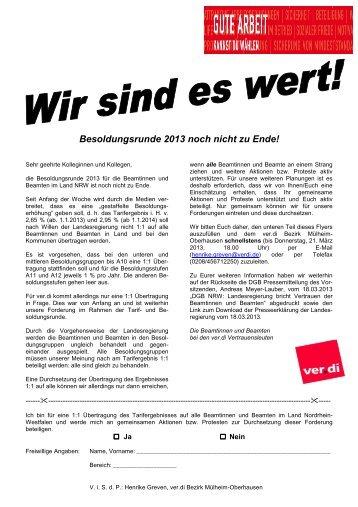 Flugblatt Umfrage - Bezirk Mülheim-Oberhausen - Ver.di