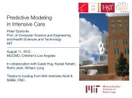 Predictive Modeling in Intensive Care - Meaningful Use of Complex ...