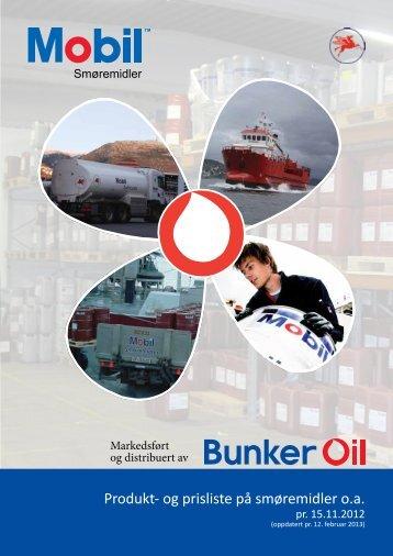 Bunker Oil prisliste for Mobil smøremidler - 15/11-2011