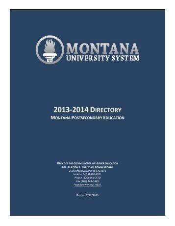 2012-2013 DIRECTORY - Montana University System