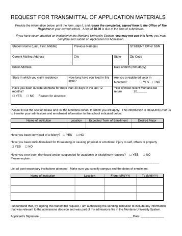 Transmittal Form Procedures