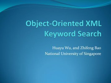 Object-Oriented XML Keyword Search - ER 2011