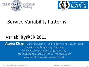 Service Variability Patterns - ER 2011