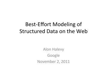Best-Effort Modeling of Structured Data on the Web - ER 2011