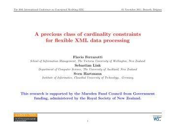 A precious class of cardinality constraints for flexible XML ... - ER 2011