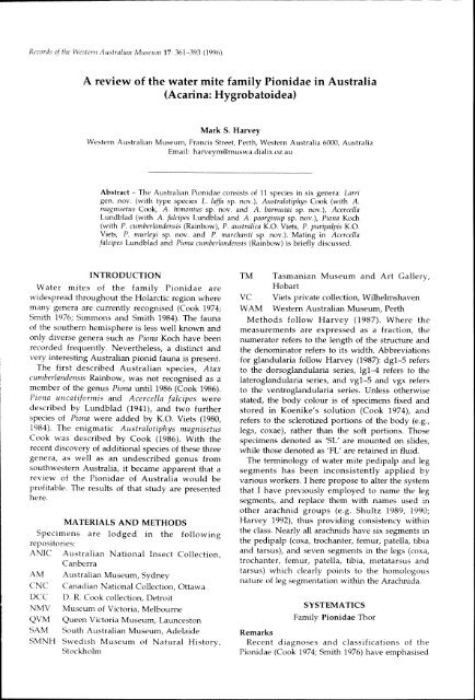 a review of the water mite family pionidae in australia - Western ...