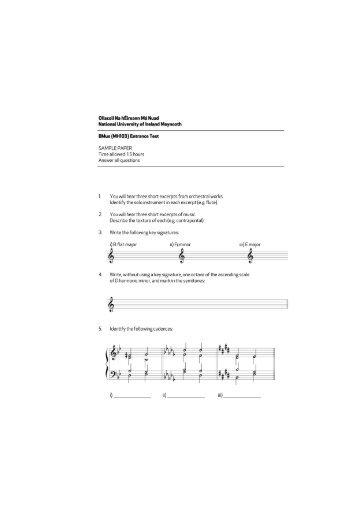 Sample Entrance Exam - Music - National University of Ireland ...