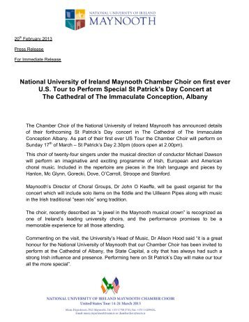 Albany Press Release - Music - National University of Ireland ...