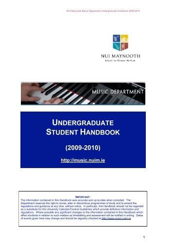 UNDERGRADUATE STUDENT HANDBOOK - Music