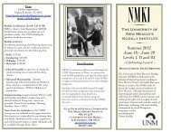 2012 nmki brochure - Department of Music - University of New Mexico