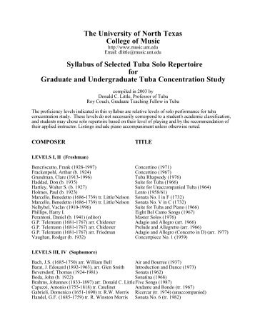 Tuba Solo Syllabus - UNT College of Music - University of North Texas