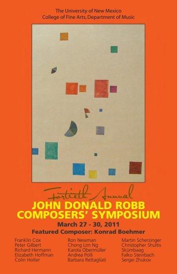Symposium Program (March, 2011) - Department of Music ...