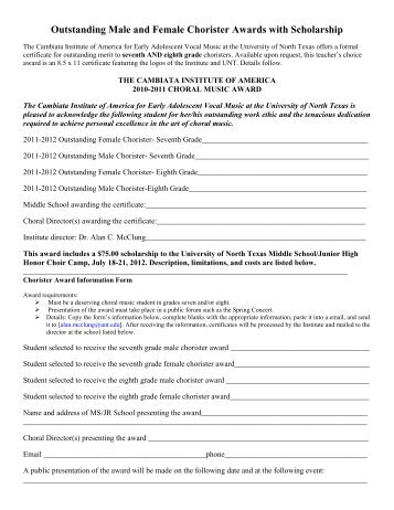 Outstanding Male and Female Chorister Awards with Scholarship