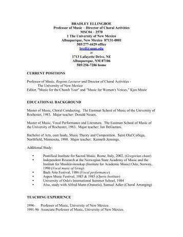 BRADLEY ELLINGBOE Professor of Music – Director of Choral ...