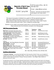 University of North Texas Percussion Manual - UNT College of ...