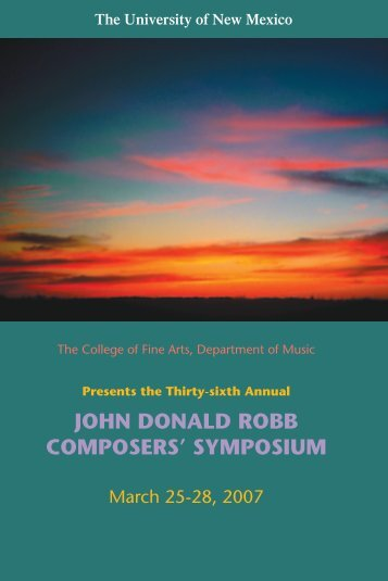 john donald robb composers' symposium - Department of Music ...