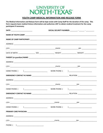 Youth Camp Medical Information And Release Form  Unt College Of
