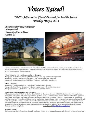 Working the 2013 Voices Raised! - UNT College of Music ...