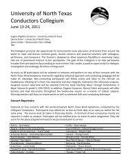 University of North Texas Conductors Collegium - College of Music ...