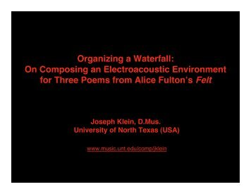 On Composing an Electroacoustic Environment - UNT College of ...