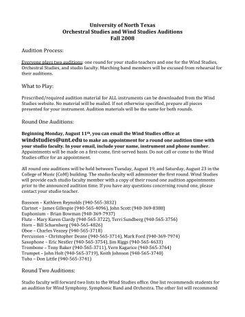 Audition Procedure - UNT College of Music - University of North Texas
