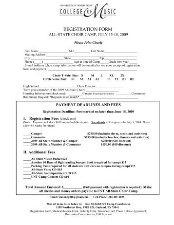 registration form - UNT College of Music - University of North Texas
