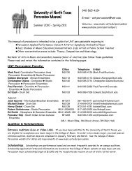 Percussion Manual - UNT College of Music - University of North Texas