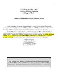 Handbook - UNT College of Music - University of North Texas