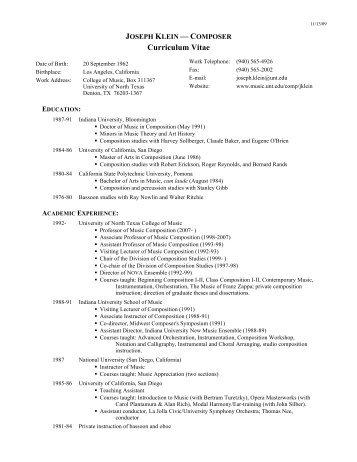 Curriculum Vitae - UNT College of Music - University of North Texas