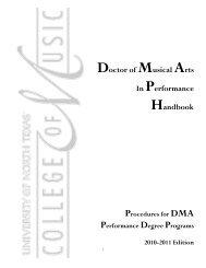 Doctor of Musical Arts In Performance Handbook - UNT College of ...