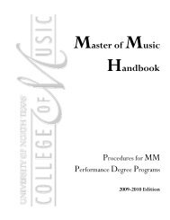 Master of Music Handbook - UNT College of Music - University of ...