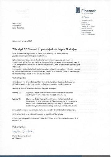 tilbud fra WAOO / GE Fibernet - Grundejerforeningen Birkhøjen