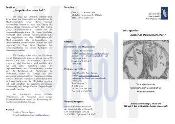 Programm Sommer 2008 - Institut für Musikwissenschaft ...