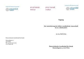 Tagungsprogramm - Institut für Musikwissenschaft