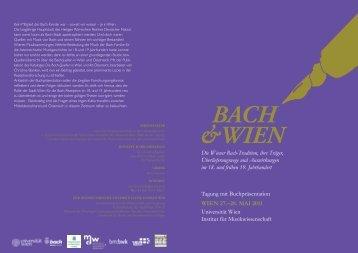 &WIEN BACH - Institut für Musikwissenschaft - Universität Wien