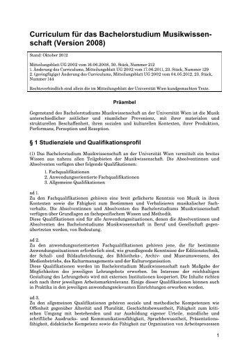 Curriculum für das Bachelorstudium ... - Universität Wien