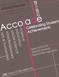 2012 Awards - Muskingum University
