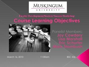 Course Learning Objectives - Muskingum University