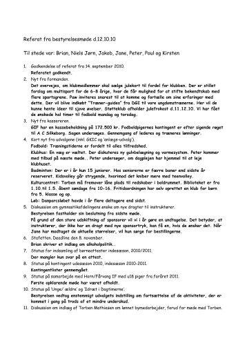Referat fra bestyrelsesmøde d