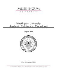Muskingum University Academic Policies and Procedures