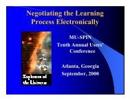 Negotiating the Learning Process Electronically - Mu-SPIN - NASA