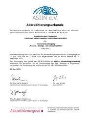Akkreditierungsurkunde - Fachhochschule Düsseldorf