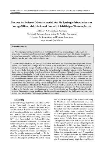 Prozess kalibriertes Materialmodell für die Spritzgießsimulation von ...
