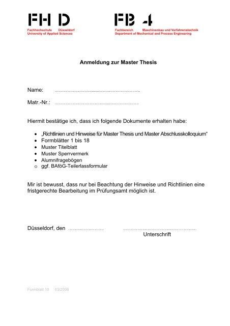 fh düsseldorf thesis richtlinien